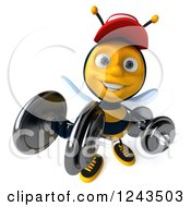 Clipart Of A 3d Bee Wearing A Baseball Cap And Lifting Weights Royalty Free Illustration