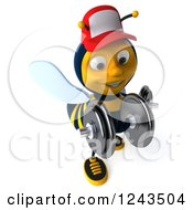 Clipart Of A 3d Bee Wearing A Baseball Cap And Lifting Weights 2 Royalty Free Illustration