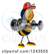 Clipart Of A 3d Bee Wearing A Baseball Cap And Lifting Weights 3 Royalty Free Illustration