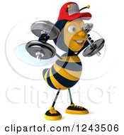Clipart Of A 3d Bee Wearing A Baseball Cap And Lifting Weights 4 Royalty Free Illustration