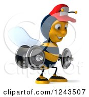 Clipart Of A 3d Bee Wearing A Baseball Cap And Lifting Weights 5 Royalty Free Illustration