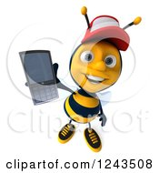 Clipart Of A 3d Bee Wearing A Baseball Cap And Holding Up A Smart Phone Royalty Free Illustration