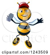 Clipart Of A 3d Bee Wearing A Baseball Cap And Jumping With A Smart Phone Royalty Free Illustration