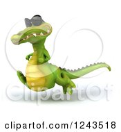 Clipart Of A 3d Crocodile Wearing Sunglasses And Playing Soccer Royalty Free Illustration