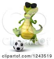 Clipart Of A 3d Crocodile Wearing Sunglasses And Playing Soccer 2 Royalty Free Illustration