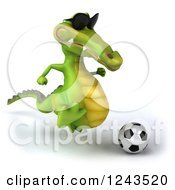 Clipart Of A 3d Crocodile Wearing Sunglasses And Playing Soccer 3 Royalty Free Illustration