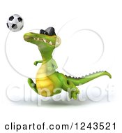 Clipart Of A 3d Crocodile Wearing Sunglasses And Playing Soccer 4 Royalty Free Illustration