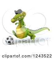 Clipart Of A 3d Crocodile Wearing Sunglasses And Playing Soccer 5 Royalty Free Illustration