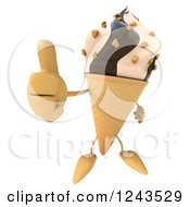 Clipart Of A 3d Thumb Up Chocolate And Vanilla Waffle Ice Cream Cone Character Royalty Free Illustration by Julos