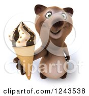 Clipart Of A 3d Brown Bear Holding Up An Ice Cream Cone Royalty Free Illustration
