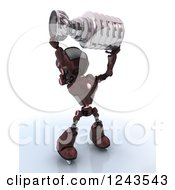Clipart Of A 3d Red Android Robot Ice Hockey Champion Holding Up A Trophy Royalty Free Illustration