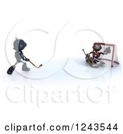 Clipart Of 3d Red And Blue Android Robots Playing Hockey 2 Royalty Free Illustration