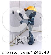 Clipart Of A 3d Blue Android Construction Robot Installing An Electrical Socket 4 Royalty Free Illustration