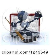 Clipart Of A 3d Blue Android Robot Hockey Goalie Royalty Free Illustration