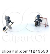 Clipart Of 3d Blue Android Robots Playing Hockey Royalty Free Illustration