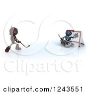 Clipart Of 3d Red And Blue Android Robots Playing Hockey Royalty Free Illustration