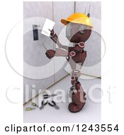 Clipart Of A 3d Red Android Construction Robot Installing An Electrical Socket 4 Royalty Free Illustration