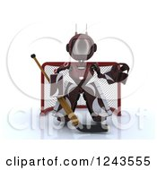 Clipart Of A 3d Red Android Robot Hockey Goalie Royalty Free Illustration