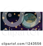 Clipart Of A 3d Sewn Earth Moon And Stars Royalty Free Illustration