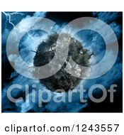 Clipart Of A 3d Dying Planet With Dead Trees In A Stormy Sky Royalty Free Illustration
