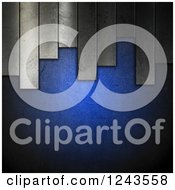 Clipart Of A 3d Blue Background With Metal Plates Royalty Free Illustration