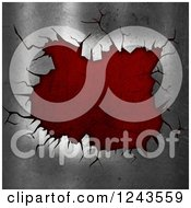 Clipart Of A 3d Cracked Metal Surface Revealing Red Beneath Royalty Free Illustration