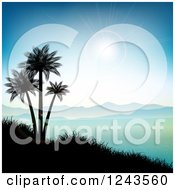 Clipart Of A Sun Flare Over Mountains Silhouetted Palm Trees And An Ocean Bay Royalty Free Vector Illustration
