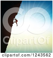 Clipart Of A Silhouetted Rock Climber And Bright Sunshine Royalty Free Vector Illustration by KJ Pargeter