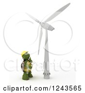 Clipart Of A 3d Tortoise Technician Working On A Wind Turbine Royalty Free Illustration