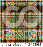 Clipart Of A Background Of Colorful Dots Flowing Towards The Center Royalty Free Vector Illustration