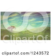 Clipart Of A 3d Landscape Of Hills With One Tree And Retro Filtering Royalty Free Illustration