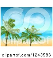 Clipart Of A Tropical Beach With White Sand And Palm Trees Royalty Free Vector Illustration