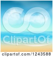 Clipart Of A Tropical Beach With White Sand And Blue Skies Royalty Free Vector Illustration by elaineitalia