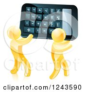 Clipart Of Two 3d Gold Men Carrying A Calculator Royalty Free Vector Illustration by AtStockIllustration