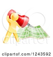 Clipart Of A 3d Gold Man Pinning A Location On A Map Royalty Free Vector Illustration