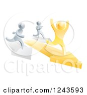 Clipart Of A 3d Gold Man Winning A Race On Arrows Against Silver Men Royalty Free Vector Illustration