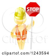 Clipart Of A 3d Gold Man Construction Worker Holding A Stop Sign Royalty Free Vector Illustration by AtStockIllustration