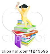 Clipart Of A 3d Gold Man Graduate Cheering With A Diploma On Books Royalty Free Vector Illustration