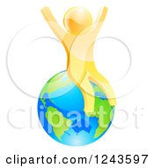 Clipart Of A 3d Happy Gold Man Sitting And Cheering On Planet Earth Royalty Free Vector Illustration