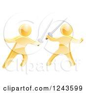 3d Fencing Gold Men Fighting With Swords