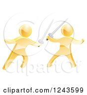 Clipart Of 3d Fencing Gold Men Fighting With Swords Royalty Free Vector Illustration