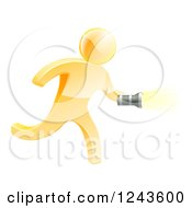 Clipart Of A 3d Gold Man Running With A Flashlight Royalty Free Vector Illustration by AtStockIllustration