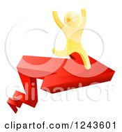 Clipart Of A 3d Gold Man Cheering And Running On An Arrow Royalty Free Vector Illustration