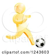Clipart Of A 3d Gold Man Playing Soccer Royalty Free Vector Illustration by AtStockIllustration