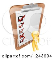Clipart Of A 3d Gold Man Looking At A Giant Survey On A Clipboard Royalty Free Vector Illustration