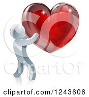 Clipart Of A 3d Silver Man Holding A Red Heart Royalty Free Vector Illustration by AtStockIllustration