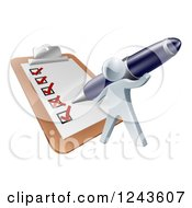 Clipart Of A 3d Silver Man Checking Off A List On A Giant Clipboard Royalty Free Vector Illustration
