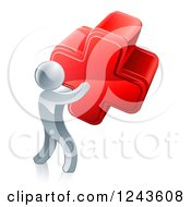 Clipart Of A 3d Silver Man Carrying A Red Cross Royalty Free Vector Illustration by AtStockIllustration