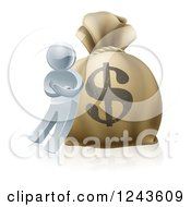 Clipart Of A 3d Silver Man Leaning Against A Giant Dollar Money Sack Royalty Free Vector Illustration