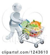 Clipart Of A 3d Silver Man Pushing A Shopping Cart Full Of Produce Royalty Free Vector Illustration